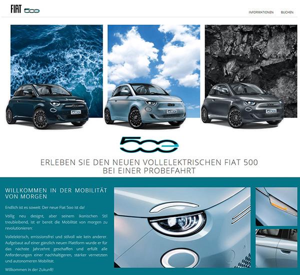 Fiat 500 e Buchungsprozess